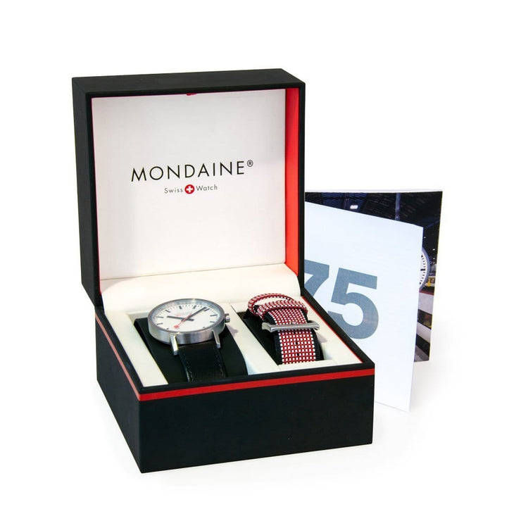 Classic 75 Years Anniversary Set, 40mm, black leather watch, A660.30360.75SET