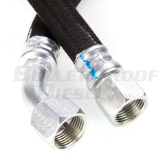 Hose, 31-3/4 Inch, Crimped On Steel Fittings, Straight to 45