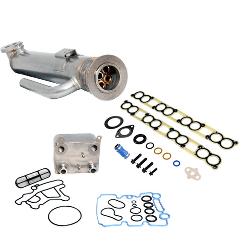 Semi BulletProof Package: Complete 6.0L EGR and Oil Cooler Package, Round Style EGR Cooler