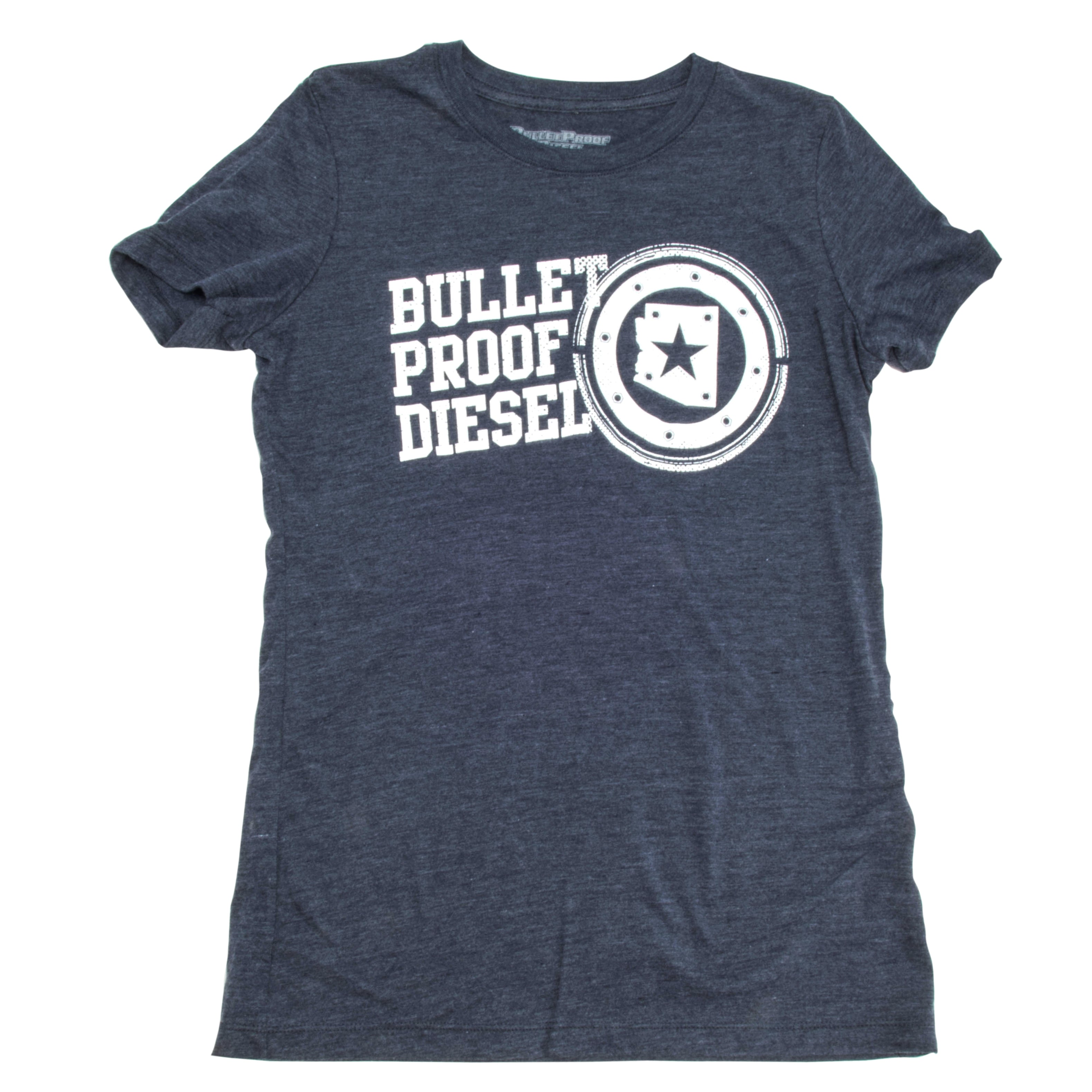 Bullet Proof Womens T-Shirt - Navy Stamp