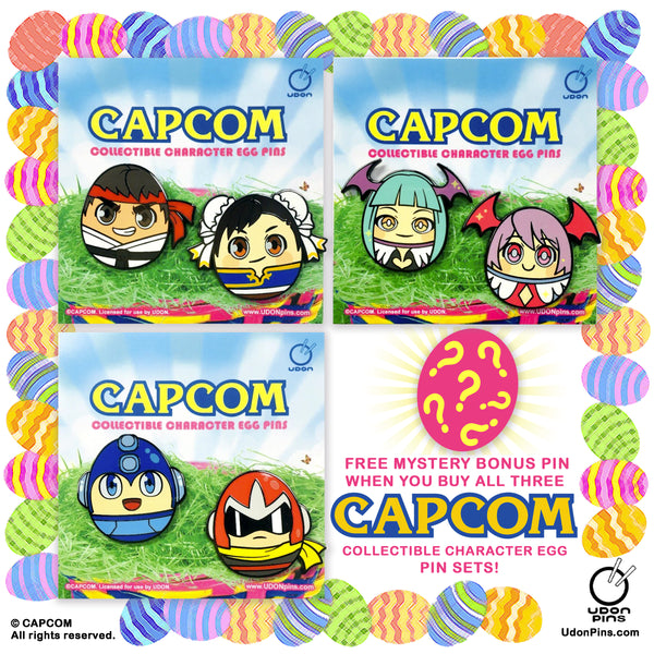 Capcom Collectible Character Egg Pins