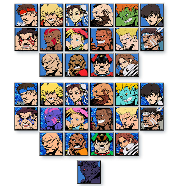 Super Street Fighter II Turbo Character Select Pins - Full Set of 32 + Akuma