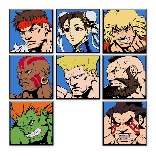 Super Street Fighter II Turbo Character Select Pins - Set of 8 Original Characters (Regular Variant)