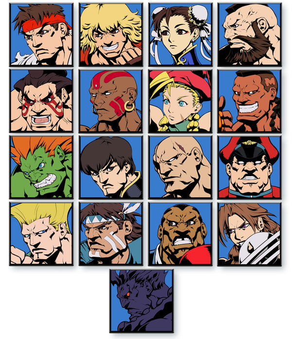 Super Street Fighter II Turbo Character Select Pins - Set of 16 Regular Characters + Akuma