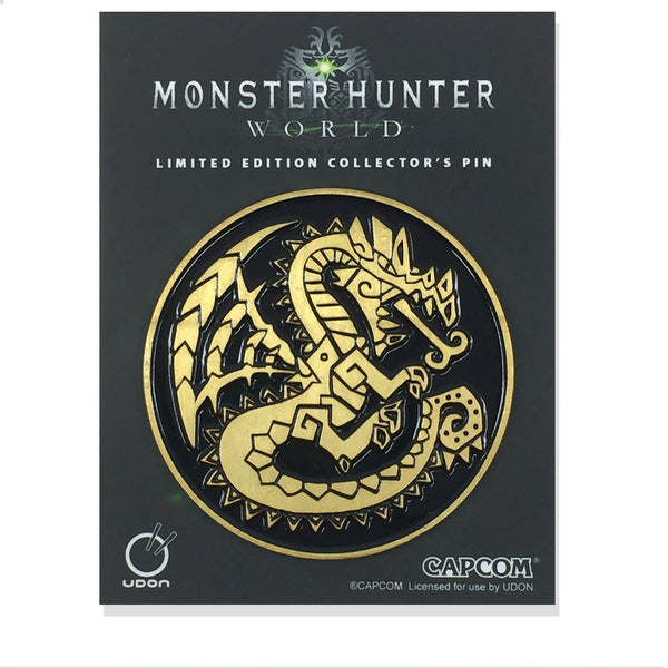 Monster Hunter Dragon Emblem Pin - Antique Black