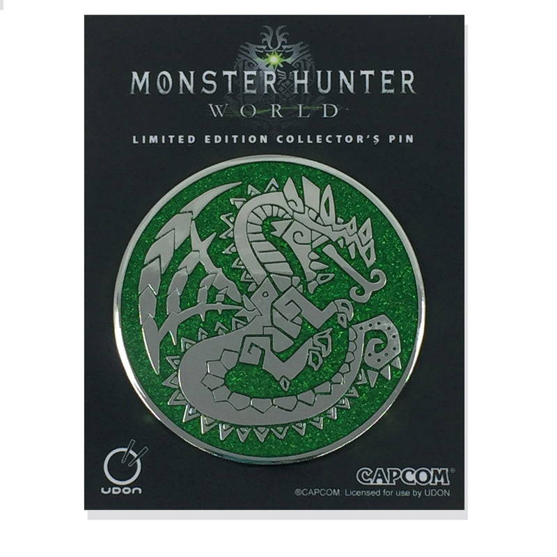 Monster Hunter Dragon Emblem Pin - Crystal Green