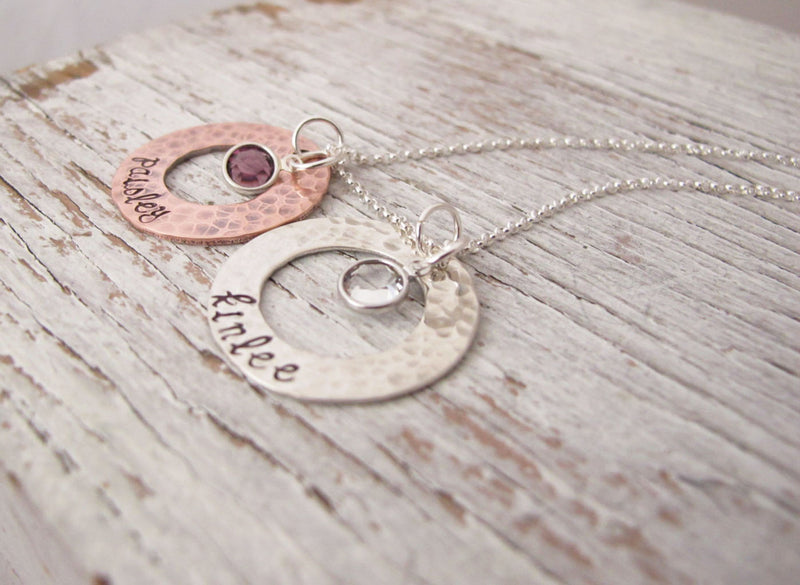 Mixed Metals Washer Necklace, Hammered