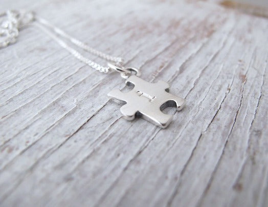 Autism Necklace, For Mom, Sterling Puzzle Necklace, Autism Awareness