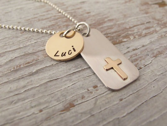 Custom Communion Necklace, First Confirmation Necklace, Communion Gift for Her, Hand Stamped Necklace, Religious Jewelry