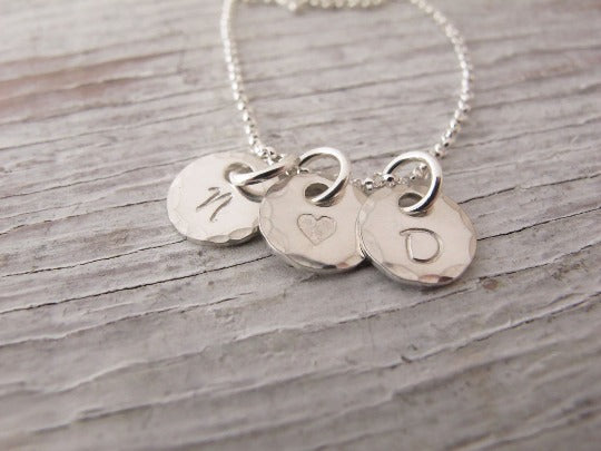 Tiny Charm Initials, Sterling Silver