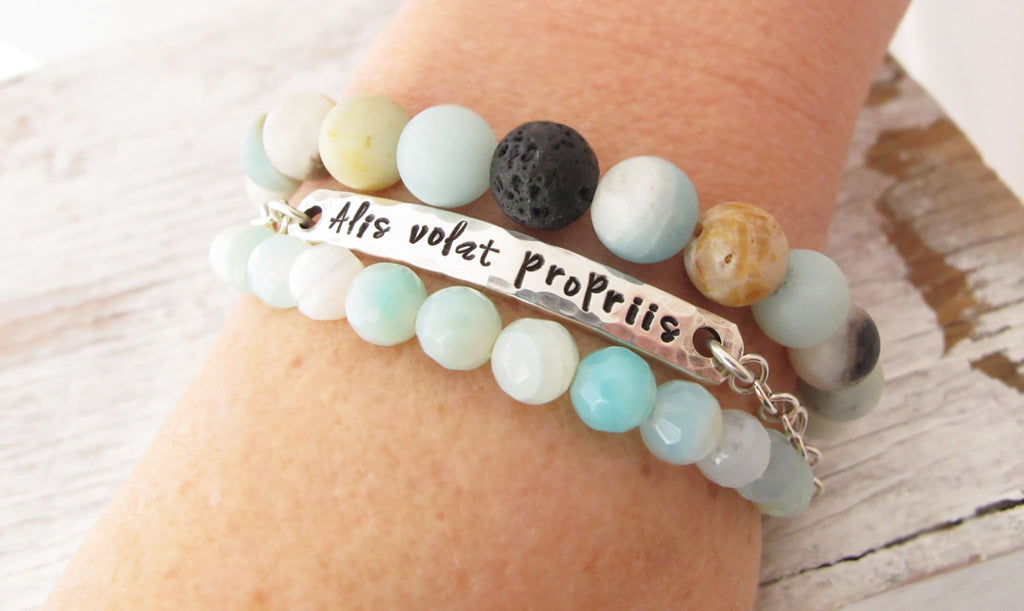 Inspirational Personalized Bracelet Set, Sterling and Amazonite