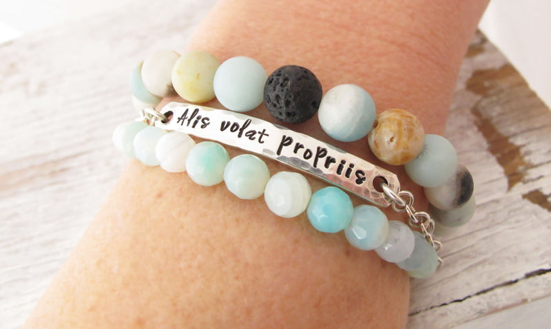 Inspirational Personalized Bracelet, Stacking Bracelet Set, Sterling, Amazonite, Graduation Gift, Alis volat propriis, She flies with her