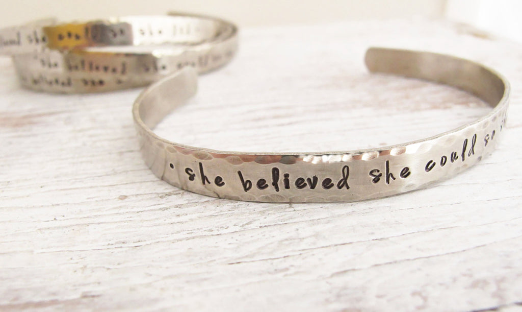 Graduation Gift, She Believed She Could So She Did, Inspirational Bracelet, Quote Bracelet, Personalized