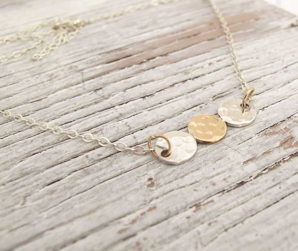 Dainty Gold and Silver Coin Necklace, Hammered, Everyday Necklace
