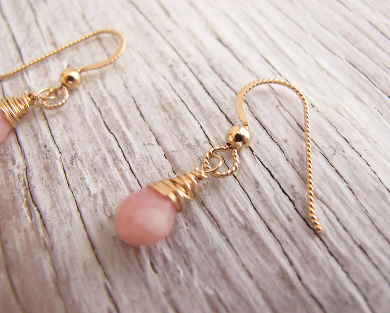 Blush Pink Opal Gold Earrings