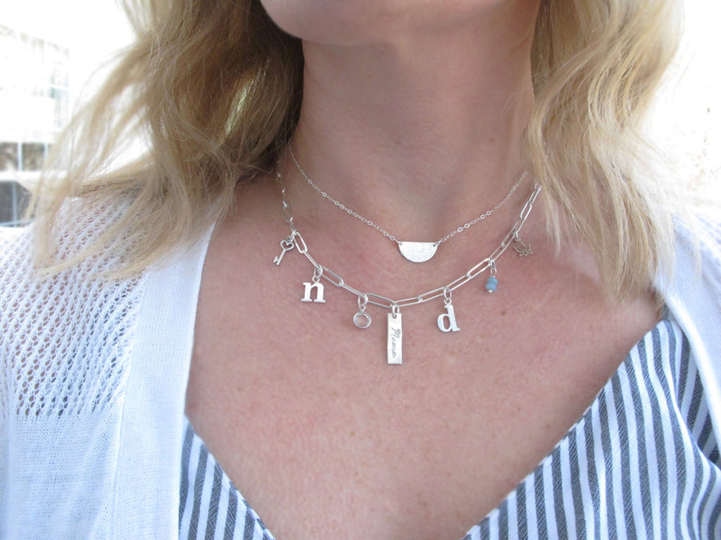 Paperclip Chain Necklace, Personalized, Initials, Mother's Necklace