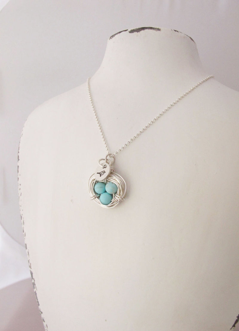 Mother's Necklace, Silver Bird Nest, Mama Bird