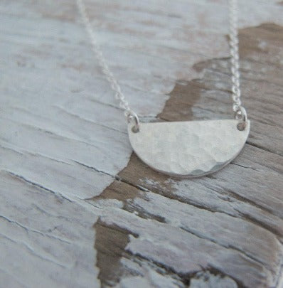 Sterling Silver Half Moon, Hammered
