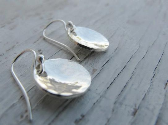 Hammered Sterling Silver Bowl Earrings