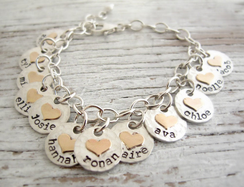 Mother's Bracelet, Silver with Gold Hearts