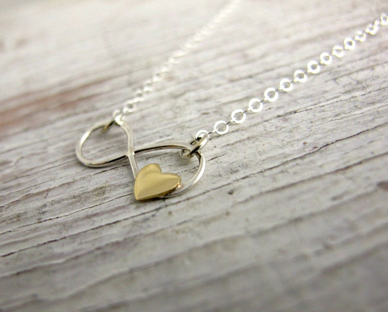 Infinity Necklace with Gold Heart