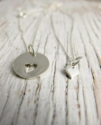 Mother Daughter Necklace, Heart Cutout