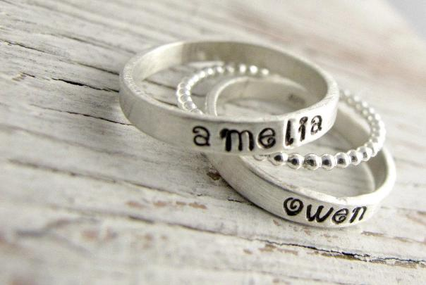 Personalized Stacking Rings with Beaded Spacer Ring
