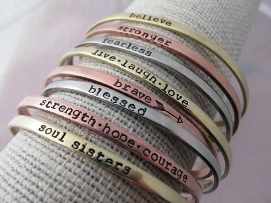 Skinny Cuffs, Inspirational or Your Own Text