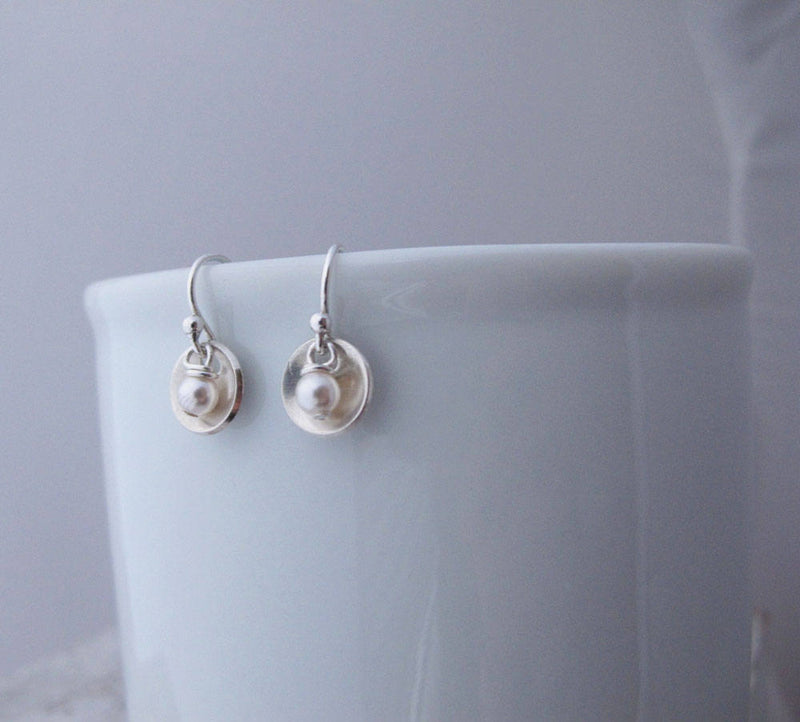Small Bowl Earrings with Pearl