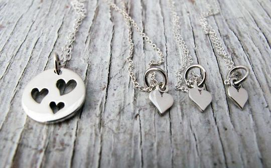 Mother Daughter Jewelry, 3 Heart Cutout Necklace