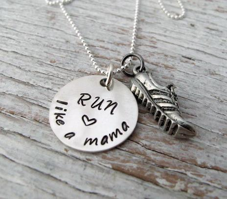 Run Like a Mama, Hand Stamped Running Jewelry, Sterling Silver, Run like a Mother, Marathon Necklace, 5k, 10k, Half Marathon