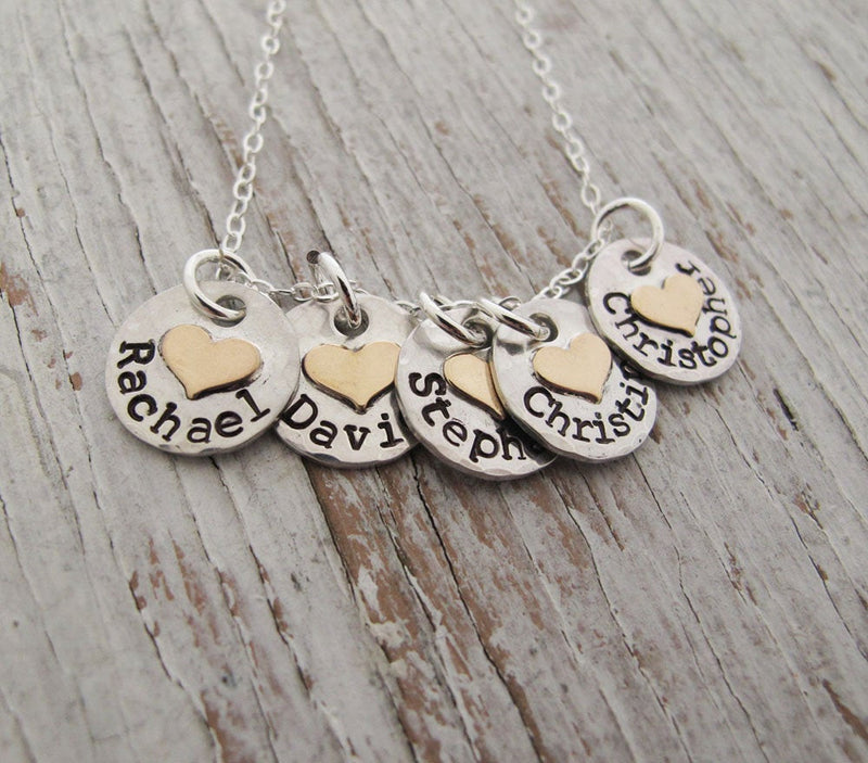 Kid's Names Necklace, Gold Hearts