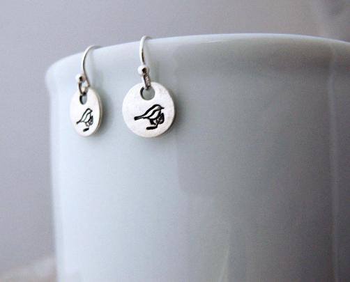 Bird Earrings Sterling Silver