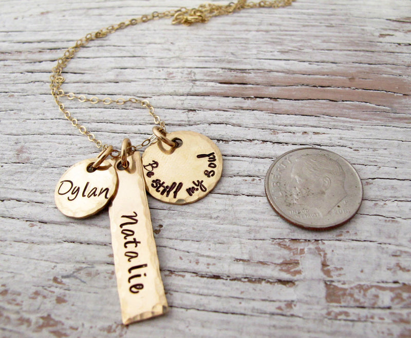 3 Charms, Gold Mother's Necklace