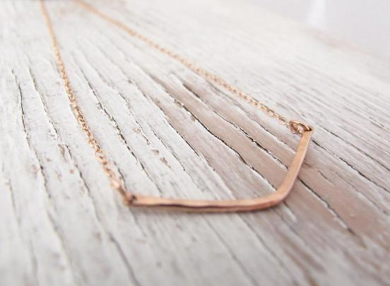 Chevron Necklace, Rose Gold