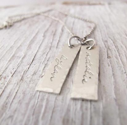 Personalized Silver Tags, Kids Name Necklace