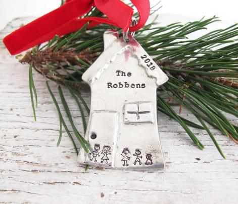 House Christmas Ornament, Stick Figure Family