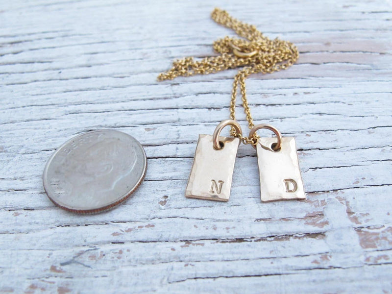Gold Initial Necklace, Tiny Tags