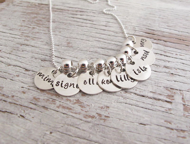 Grandkid Name Necklace, Grandmother