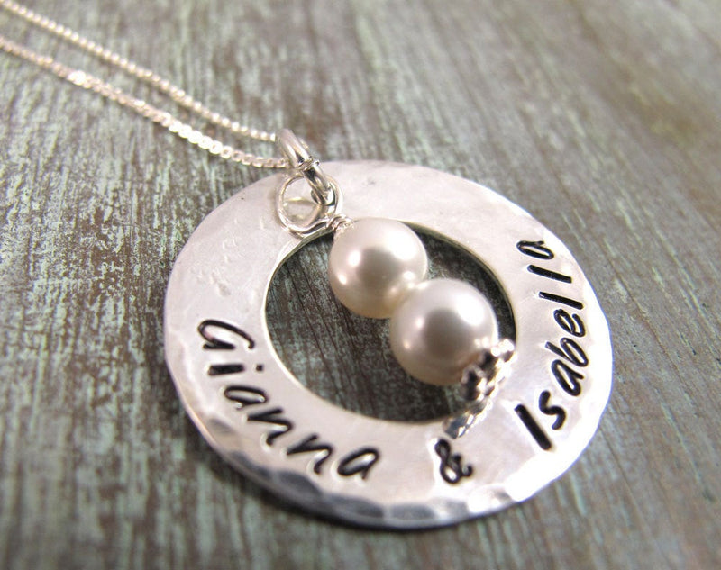 Twins Necklace with Pearls