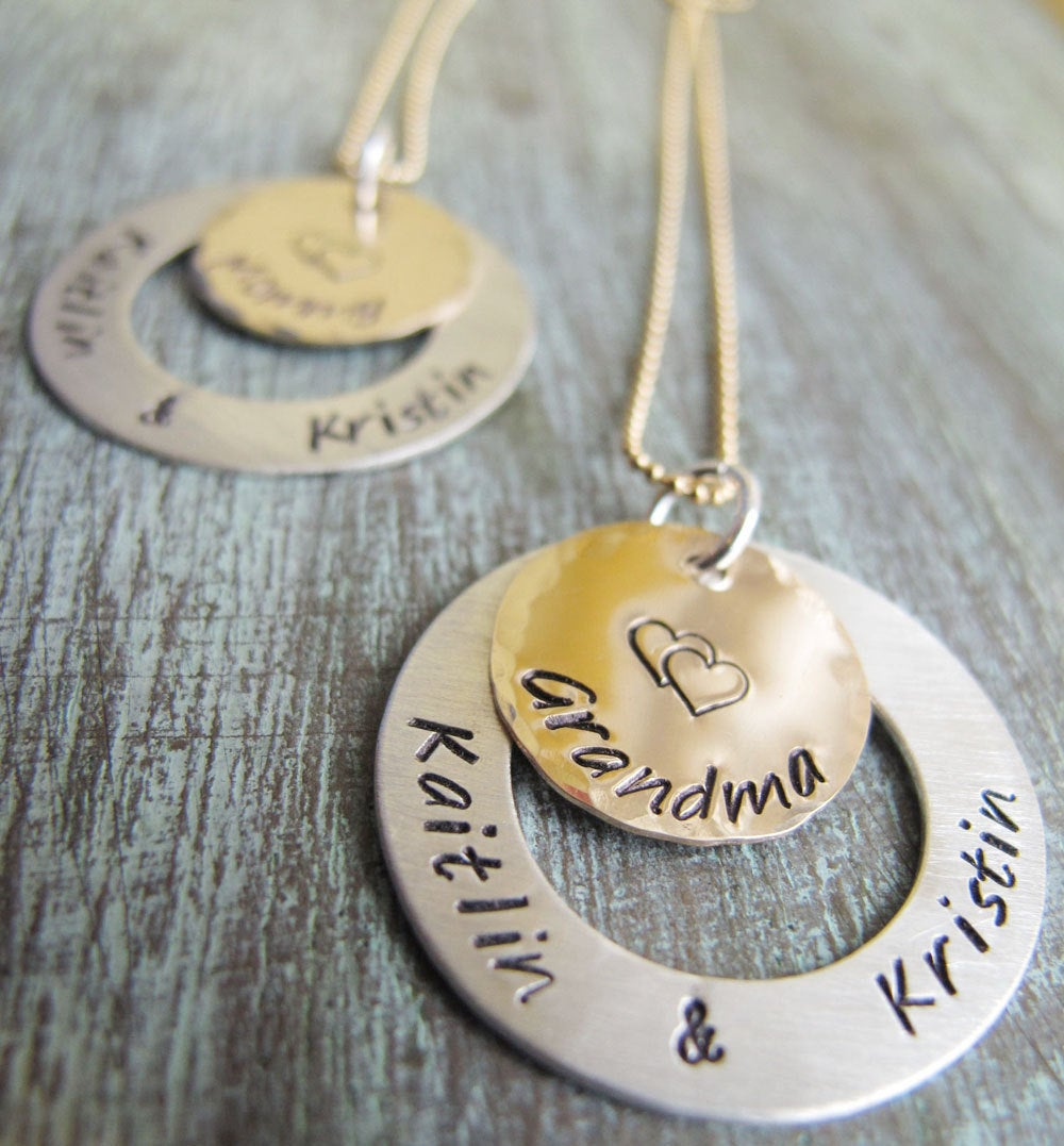 Personalized Grandmother Necklace, Gold & Silver