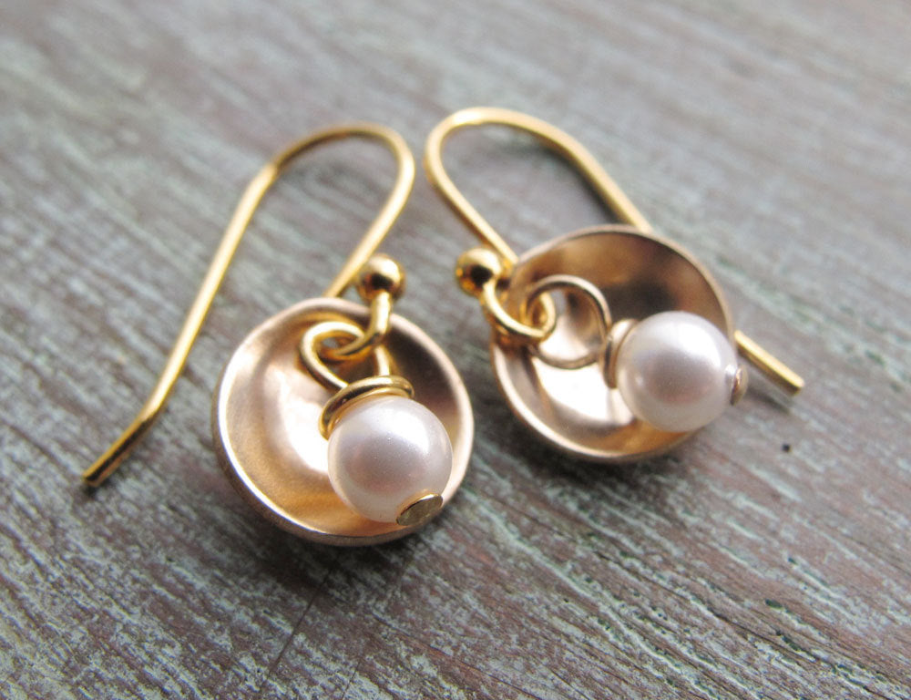 Small Gold Earrings, Tiny Cups