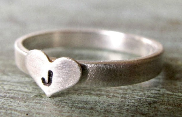 Stackable Initial Heart Ring