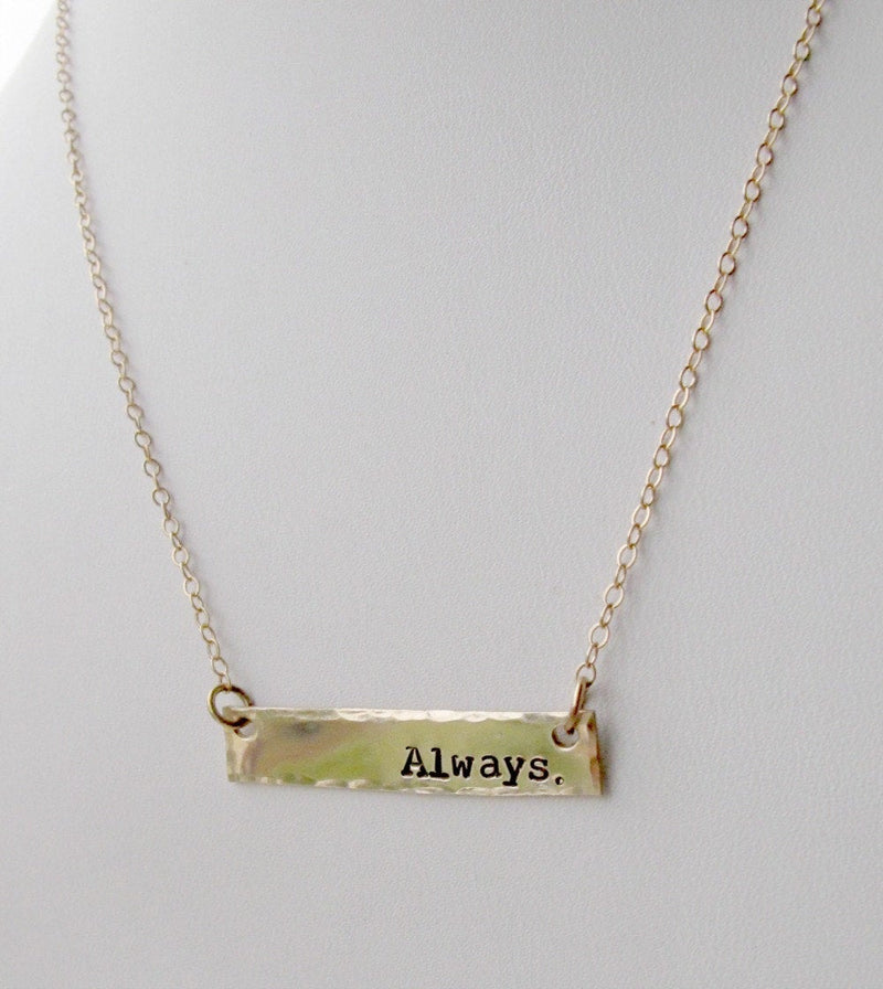 Gold Bar Name Necklace, Hammered
