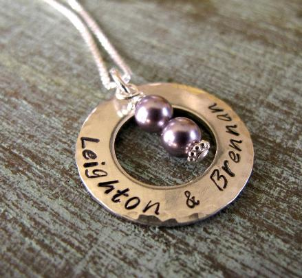 Twin Necklace with Birthdate & Pearls