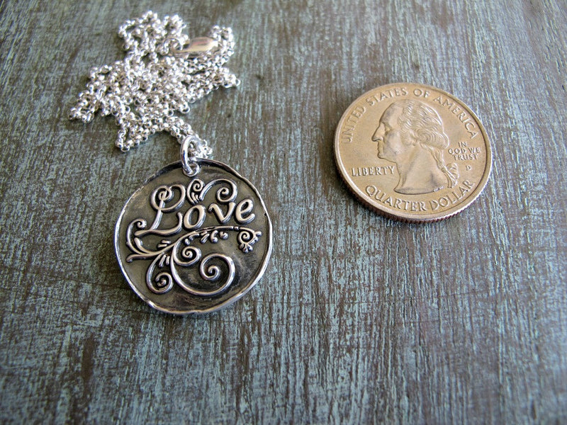 LOVE, Fine Silver, Antique Blue