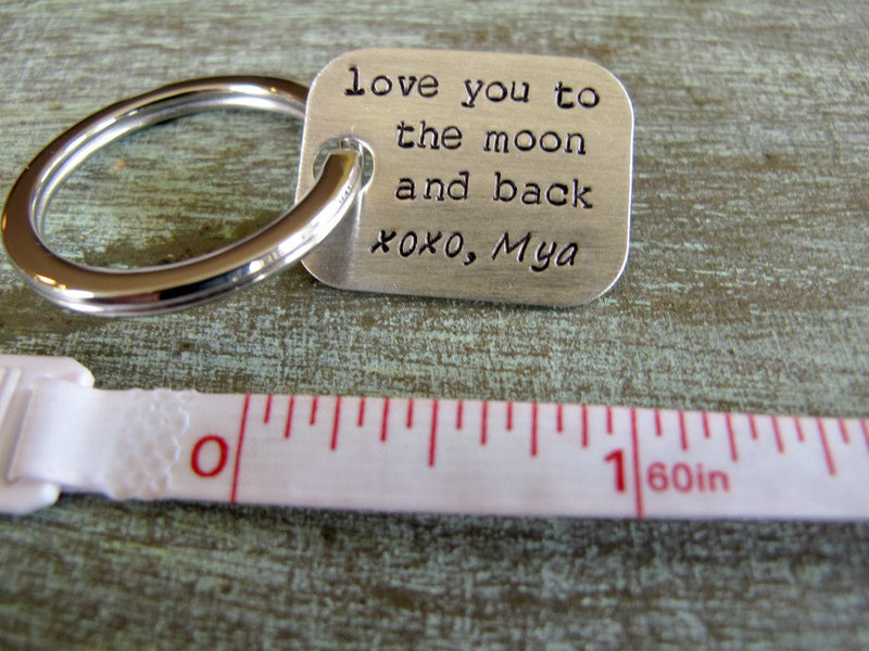 Love You to the Moon With Date Key Chain