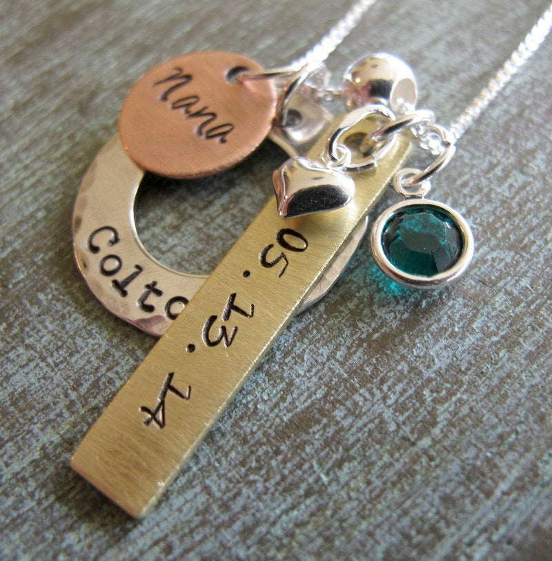Personalized Mother's Necklace, Mixed Metals