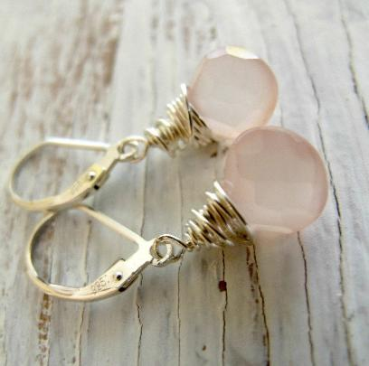 Pink Chalcedony Faceted Briolette Earrings