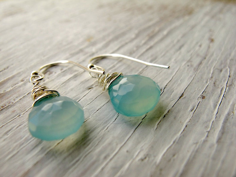 Aqua Blue Chalcedony Earrings